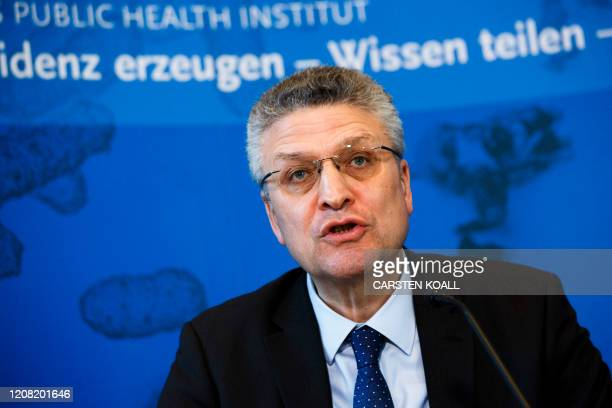 President of German Robert Koch-Institute, Lothar H. Wieler gives a briefing to the press on the spread of the novel coronavirus in Germany on March...