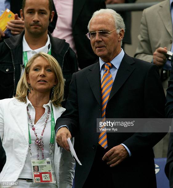 President of Germany 2006 Organising Committee Franz Beckenbauer and Heidrun Burmester look on before the FIFA World Cup Germany 2006 Group C match...