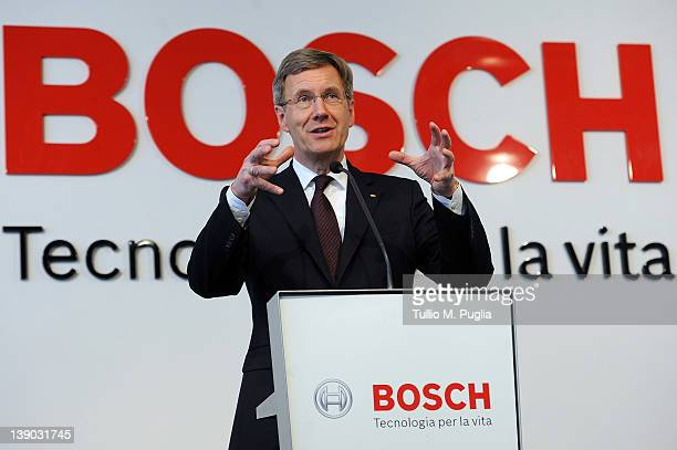 President of Germany Christian Wulff speacks during his visit at Bosch Production Plant on February 15 2012 in Bari Italy German President Christian...