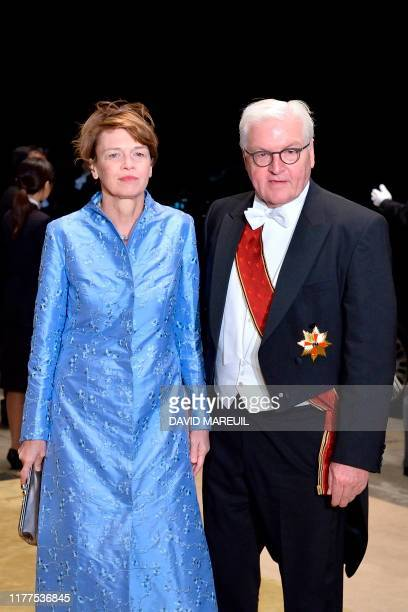 President of Germany FrankWalter Steinmeier and his wife Elke Budenbender arrive at the Imperial Palace for the Court Banquets after the Ceremony of...