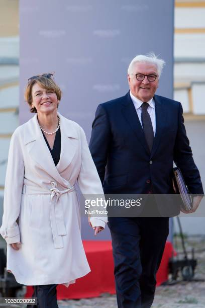 President of Germany FrankWalter Steinmeier and his wife Elke Budenbender during the 14th informal meeting of the Arraiolos Group at Rundale Palace...