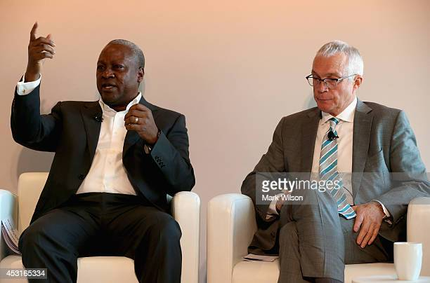 President of Ghana HE John Dramani Mahama and Jay Ireland President and CEO of GE Africa participate in a discussion about expanding access to power...