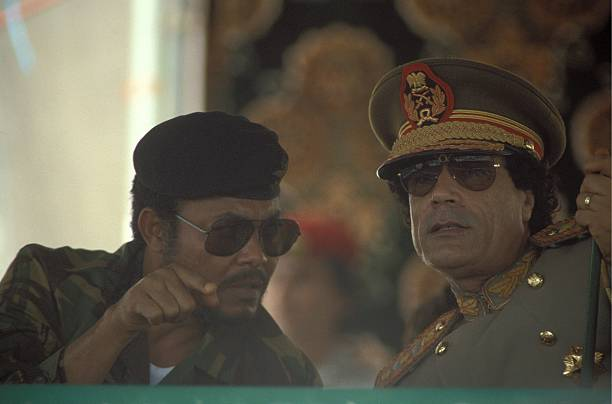 President of Ghana Jerry John Rawlings and Muammar Al Gaddafi during the 18th Anniversary Of The Libyan Revolution in 1987
