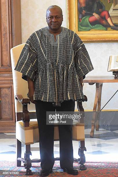 President of Ghana John Dramani Mahama attends an audience with Pope Francis at the Apostolic Palace on November 10 2014 in Vatican City Vatican...