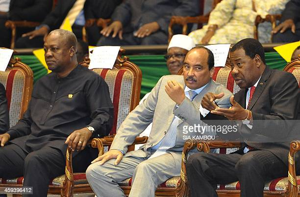 President of Ghana John Dramani Mahama President of Mauritania and of the African Union Mohamed Ould Abdel Aziz and President of Benin Yayi Boni...