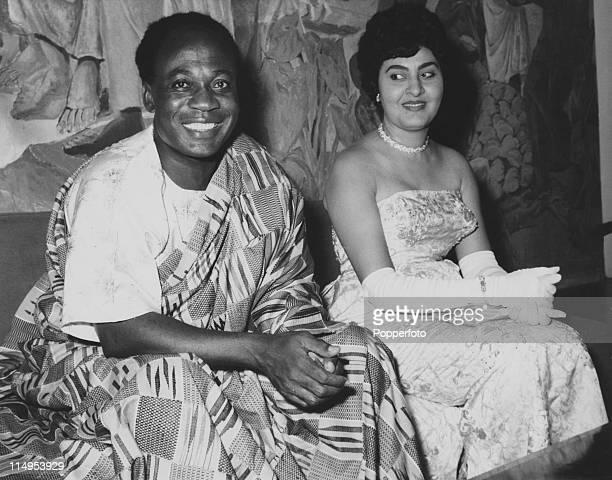 President of Ghana Kwame Nkrumah with his wife Fathia Nkrumah circa 1963