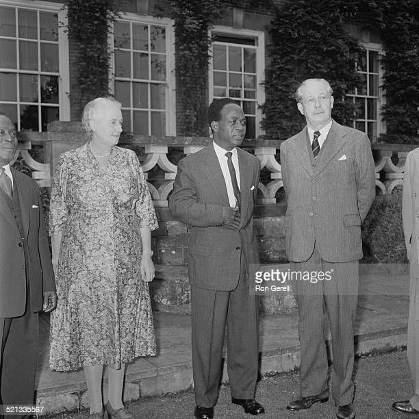 President of Ghana Kwame Nkrumah with Prime Minister of the United Kingdom Harold Macmillan and Lady Dorothy Macmillan at Birch Grove Chelwood Gate...