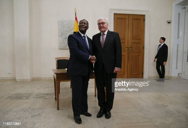 President of Ghana Nana Akufo Addo is welcomed by German President FrankWalter Steinmeier ahead of a conference with African leaders at Schloss...