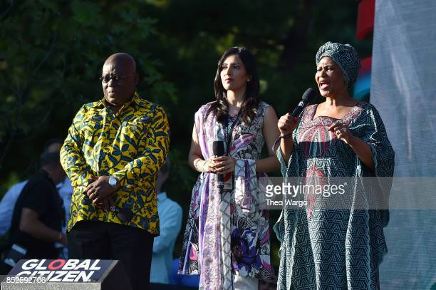 President of Ghana Nana AkufoAddo Uzma Ghul and Phumzile MlamboNgcuka speak onstage during the 2017 Global Citizen Festival For Freedom For Justice...