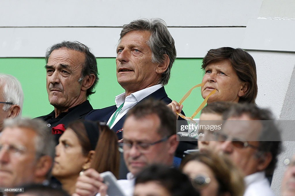 President of Girondins de Bordeaux Jean-Louis Triaud and owner of Girondins de Bordeaux Nicolas de Tavernost look on during the French Ligue 1 match between AS Saint-Etienne (ASSE) and FC Girondins de Bordeaux at Stade Geoffroy-Guichard on August 15, 2015 in Saint-Etienne, France.
