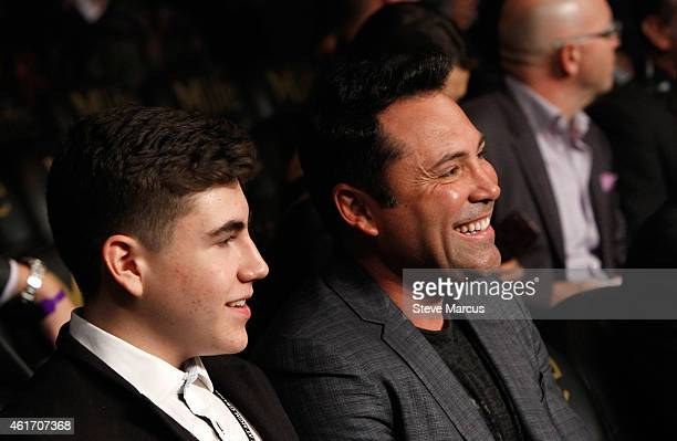 President of Golden Boy Promotions Oscar De La Hoya and his son Devon De La Hoya attend a boxing match at the MGM Grand Garden Arena on January 17...