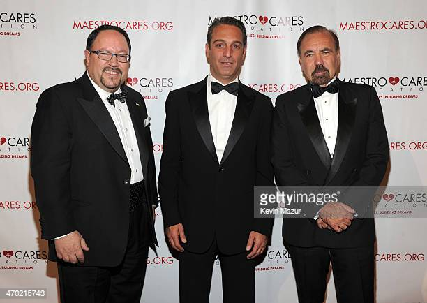 President of Goya Foods Robert Unanue Carlos Slim Dormit and Jorge Perez attend the Maestro Cares First Annual Gala at Cipriani Wall Street on...