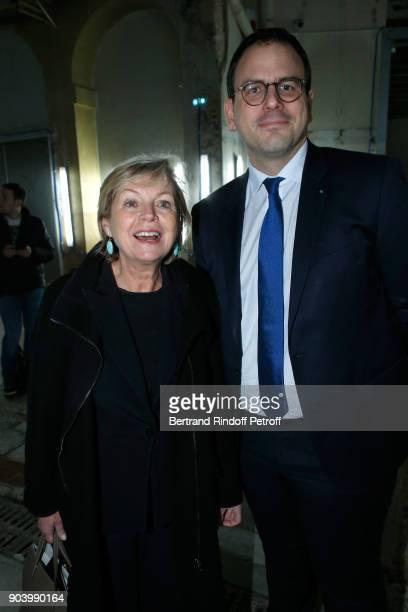 President of Grand Palais Sylvie Hubac and CEO of 'Monnaie de Paris' Aurelien Rousseau attend the Vendorama Exhibition as Boucheron Celebrates its...