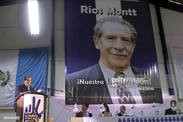 President of Guatemala's Congress Efrain Rios Montt speaks during a congress of the ruling party Guatemalan Republican Fron in Guatemala City 15 June...
