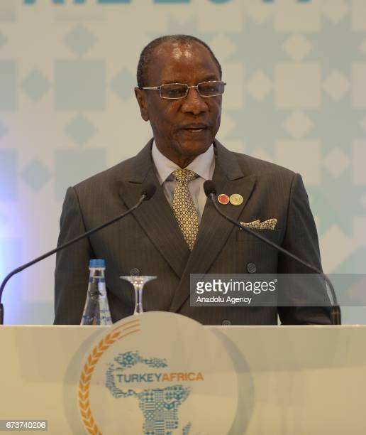 President of Guinea Alpha Conde delivers a speech during the TurkeyAfrica First Agriculture Ministers Meeting and Agribusiness Forum at Maritim Pine...