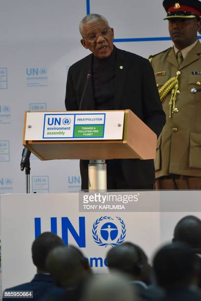 President of Guyana Brig David Arthur Grangergives an address at the official opening of the United Nations Environment Assembly at the UN...