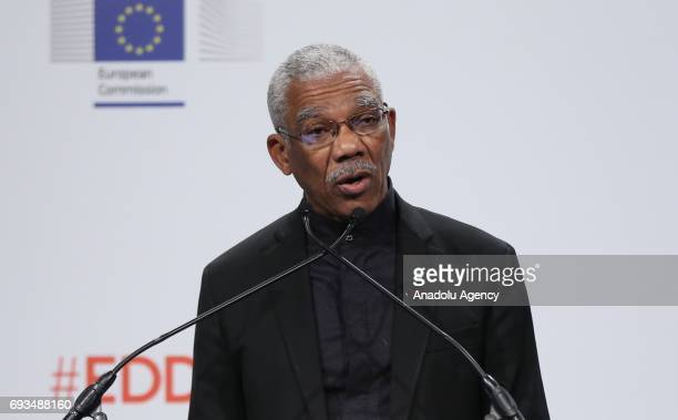 President of Guyana Brigadier David Arthur Granger delivers a speech during a ceremony within European Development Days 2017 in Brussels Belgium on...