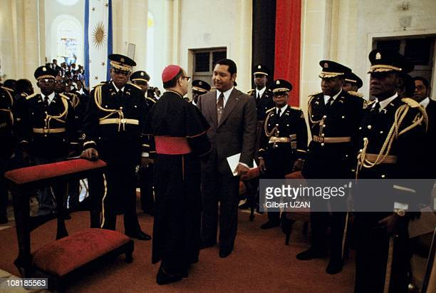President of Haiti Jean-Claude Duvalier during a mass with his police and military chief forces, during the 1980's in Haiti.