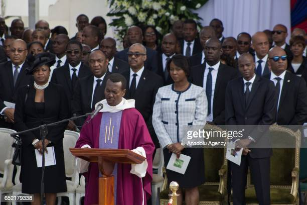 President of Haiti Jovenel Moise and his wife attend a funeral service for the late former Haitian president Rene Preval who passed away on March 3...