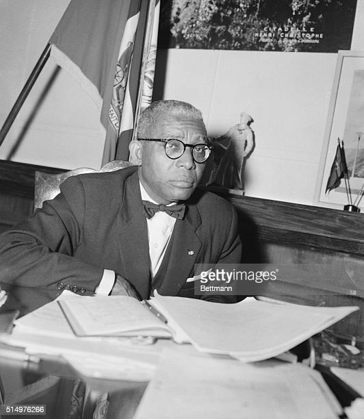 President of Haiti PortAuPrince Haiti Dr Francois Duvalier who describes himself as a country doctor who is now a doctor to a country holds a press...