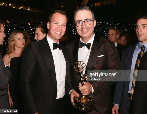 """President of HBO Programming Casey Bloys and John Oliver, winner of the award for Outstanding Writing for a Variety Series for """"Last Week Tonight..."""