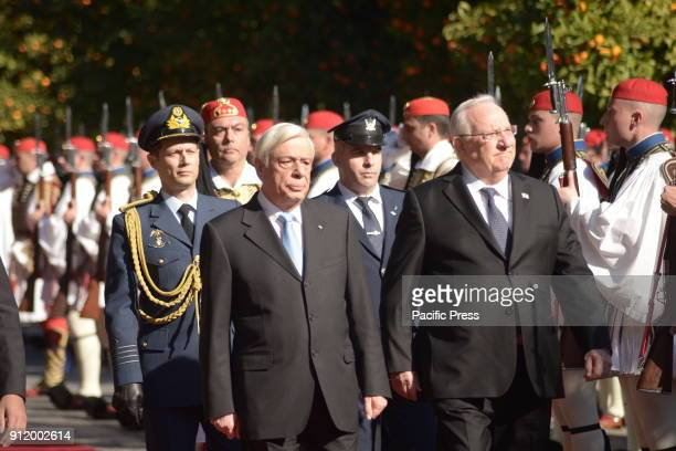 President of Hellenic Republic Prokopis Pavlopoulos accomapnies President of israel Reuven Rivlin outside the Presidential Mansion
