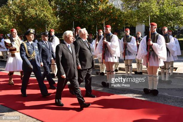 President of Hellenic Republic Prokopis Pavlopoulos accompanies President of Israel Reuven Rivlin in front of Greek Presidential Guard outside the...