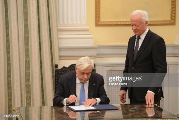 MANSION ATHENS ATTIKI GREECE President of Hellenic Republic Prokopis Pavlopoulos put his signature for the ratification of the act of government...