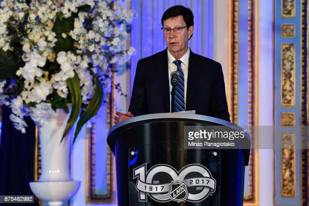 President of Hockey Operations and General Manager of the Nashville Predators David Poile addresses the guests during the NHL Centennial 100...