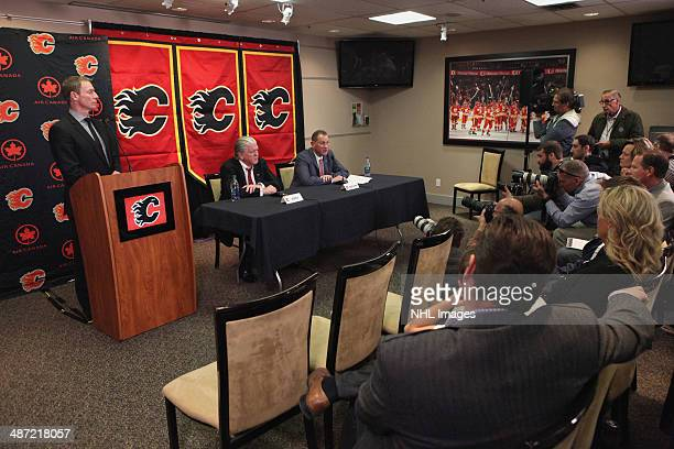 President of Hockey Operations Brian Burke and General Manager Brad Treliving of the Calgary Flames answer questions from the media pertaining to...