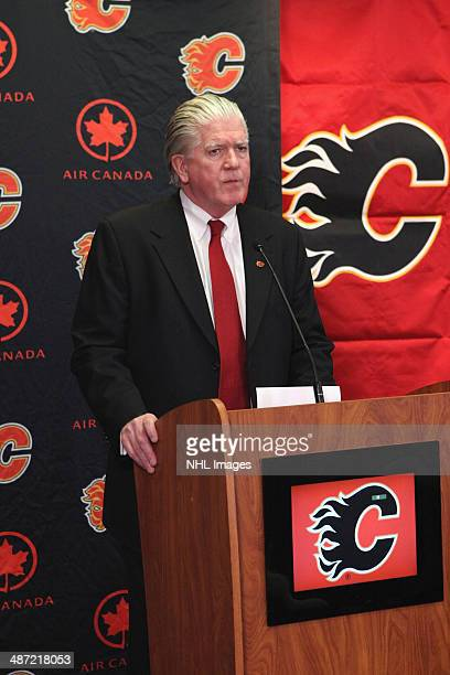 President of Hockey Operations Brian Burke of the Calgary Flames discusses his decision of hiring new General Manager Brad Treliving at Scotiabank...