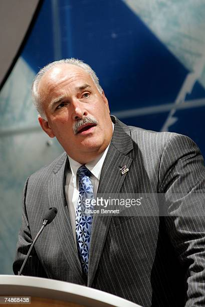 President of Hockey Operations John Davidson of the St Louis Blues speaks onstage during the first round of the 2007 NHL Entry Draft at Nationwide...