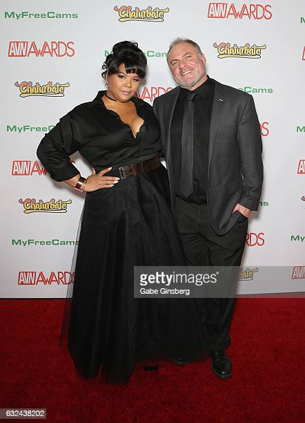 President of HoloFilm Productions Anna Lee and Aeko Litrell attend the 2017 Adult Video News Awards at the Hard Rock Hotel Casino on January 21 2017...