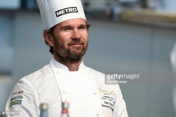 President of honour Carlo Cracco smiles during the Europe 2018 Bocuse d'Or International culinary competition Best ten teams will access to the world...