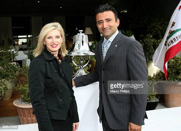 President of Hotels SBE Arash Azarbarzin and guest attend the launch of SLS's Beverly Hills Ringing of the Bell Ceremony on November 10 2008 in...
