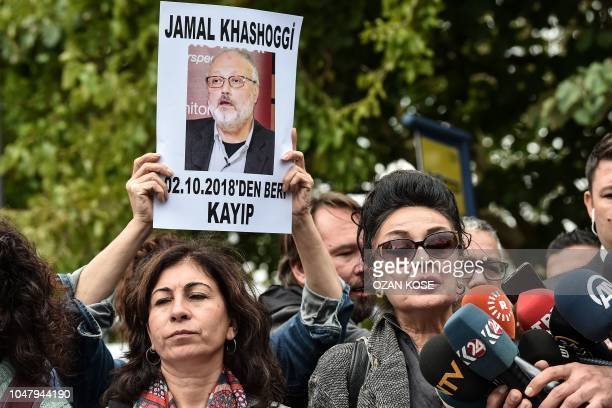 President of Human Right Association Eren Keskin speaks to journalists during a demonstration in front of the Saudi Arabian consulate on October 9...
