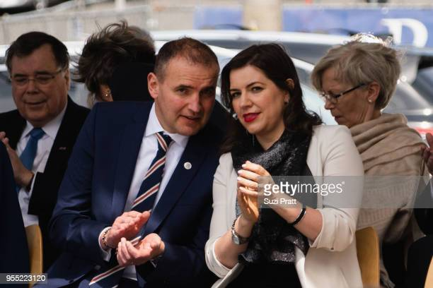 President of Iceland Gudni Th Johannesson and Iceland First Lady Eliza Reid speak to each other at the Nordic Museum on May 5 2018 in Seattle...