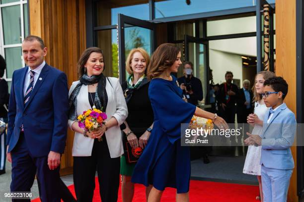 President of Iceland Gudni Th Johannesson Iceland First Lady Eliza Reid and Seattle Mayor Jenny Durkan watch as Her Royal Highness the Crown Princess...