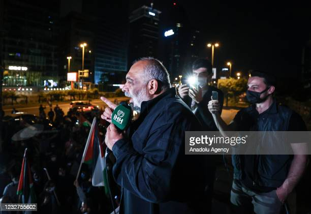 President of IHH Humanitarian Relief Foundation, Bulent Yildirim makes a speech as people gather to protest against Israel's attack on Masjid al-Aqsa...