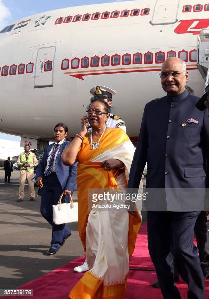 President of India Ram Nath Kovind and his wife Savita Kovind arrive at Addis Ababa Bole International Airport in Addis Ababa Ethiopia on October 04...