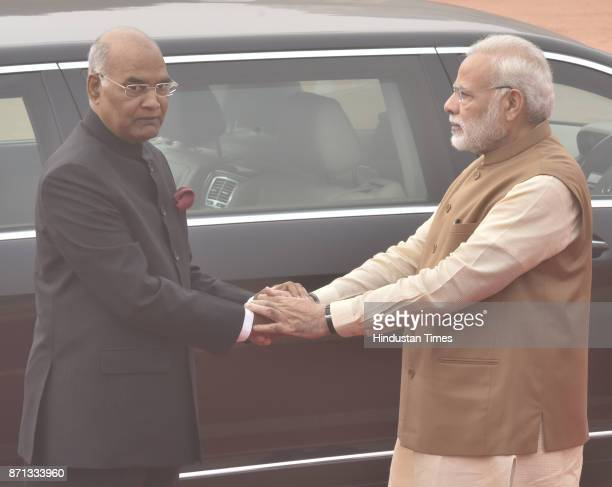 President of India Ram Nath Kovind and Prime Minister of India Narendra Modi during Ceremonial Reception of the King and the Queen of Belgium at...
