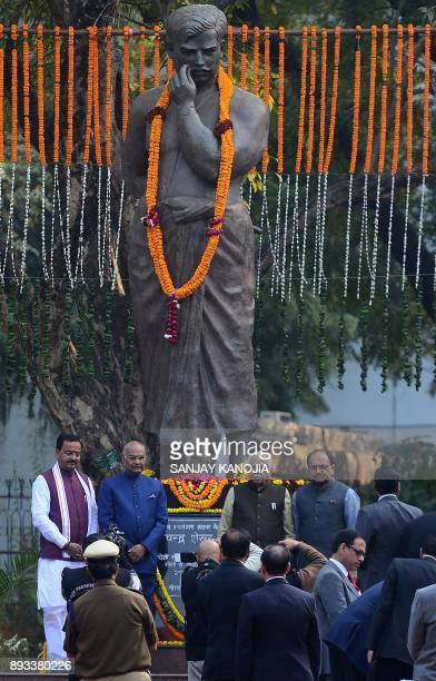 President of India Ram Nath Kovind offers a tribute at the statue of Indian freedom fighter Chandra Shekhar Azad at Azad park during his twoday visit...
