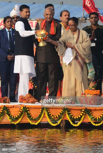 President of India Ram Nath Kovind performs 'Ganga Aarti' ritual at Sangam the confluence of the rivers Ganges Yamuna and mythical Saraswati in...