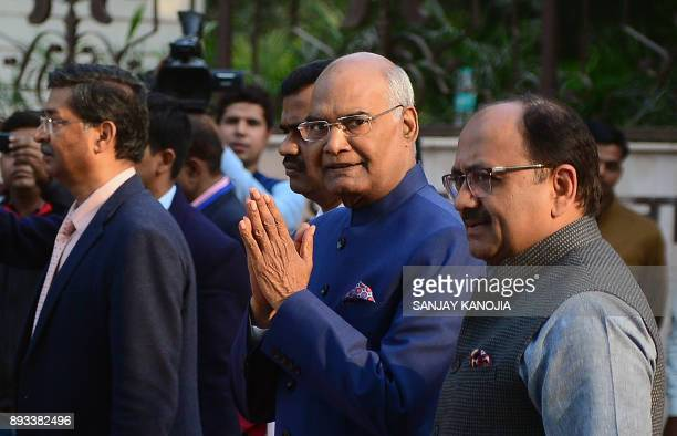 President of India Ram Nath Kovind returns after offers a tribute at the statue of Indian freedom fighter Chandra Shekhar Azad at Azad park during...
