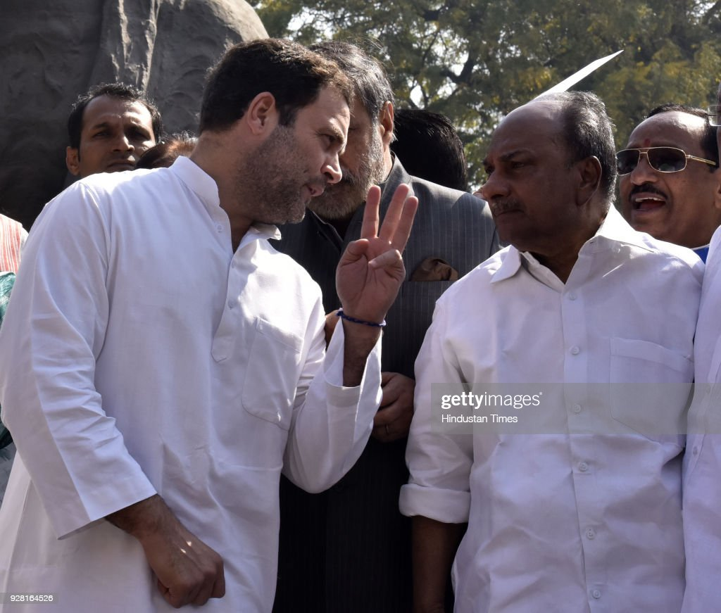 President of Indian National Congress Rahul Gandhi speaking to to AK Antony during the standing protest against Modi Government on the issue of Nirav.