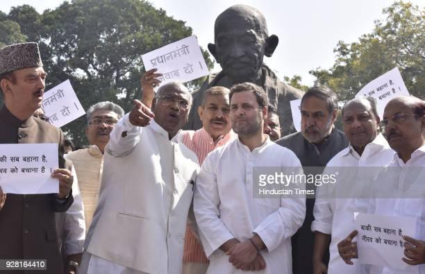 President of Indian National Congress Rahul Gandhi with Mallikarjun Kharge Ghulam Nabi Azad AK Antony Anand Sharma and other Lok Sabha MPs of...