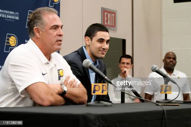President of Indiana Pacers Basketball Operatios Kevin Pritchard introduces Goga Bitadze as the 2019 NBA Draftee during a press conference on June 21...