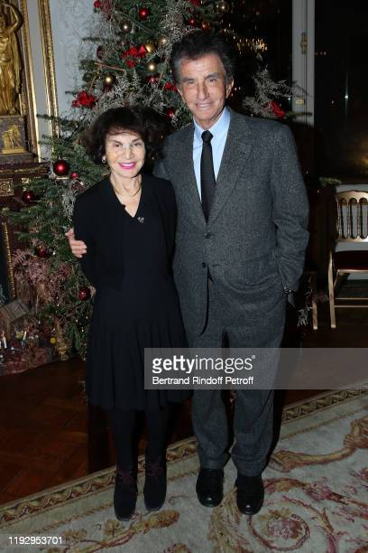 """President of Institut du Monde Arabe Jack Lang and his wife Monique Lang attend Gilbert Coullier Receives The """"Officer's insignia of the Legion Of..."""