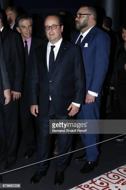 President of Institut du Monde Arabe Jack Lang French President Francois Hollande and Morocco's King Mohammed VI visit 'Tresor de l'Islam en Afrique'...