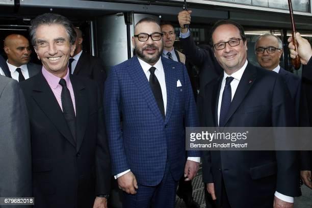 President of Institut du Monde Arabe Jack Lang Morocco's King Mohammed VI and French President Francois Hollande visit 'Tresor de l'Islam en Afrique'...